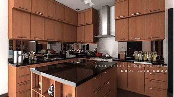 jual kitchen set model minimalis warna coklat Portu Interior