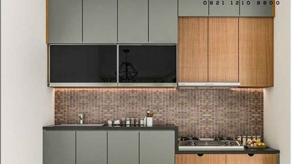 model kitchen set minimalis kombinasi warna