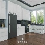 desain kitchen set warna putih minimalis modern