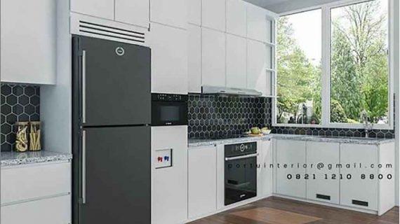 desain kitchen set warna putih minimalis modern