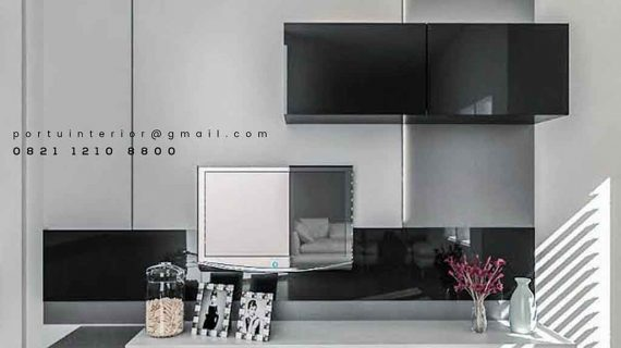design backdrop tv modern dengan kabinet gantung