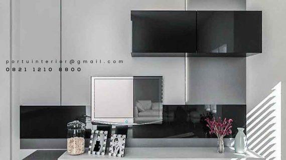 design backdrop tv modern dengan kabinet gantung