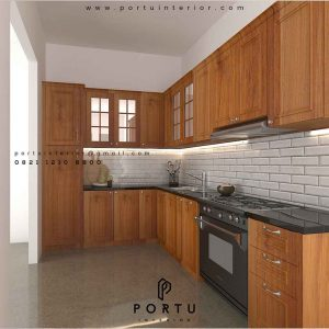 design kitchen set klasik warna coklat by Portu Interior