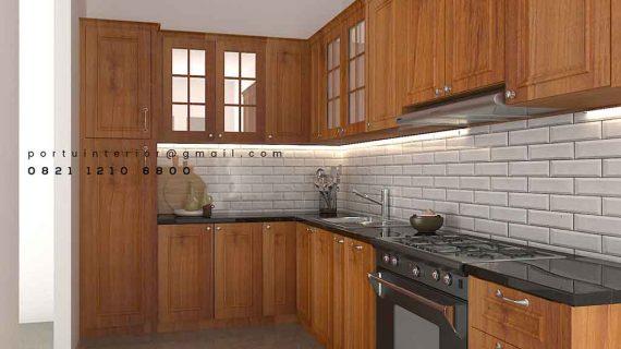 design kitchen set klasik warna coklat by Portu Interior