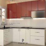 kitchen set model L kombinasi warna merah putih