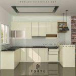 model kitchen set letter u warna putih