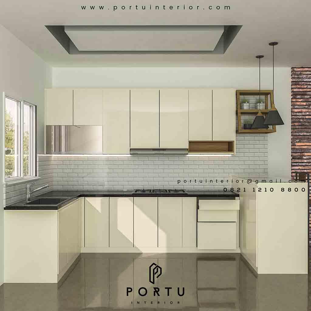 model kitchen set letter u warna putih - Portu Interior