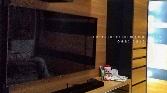 Backdrop tv minimalis hpl dengan kabinet gantung id3518