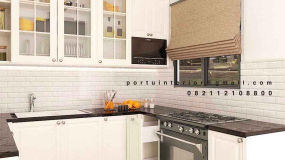 desain kitchen set semi klasik warna putih anti rayap