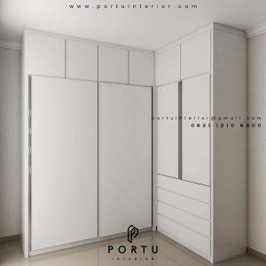 desain lemari sliding pintu kaca letter L