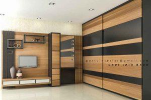 design backdrop tv minimalis hpl warna coklat by Portu Interior id3518