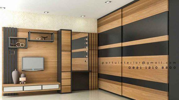 Produksi Backdrop TV Minimalis HPL Perumahan Sarau Makmur Pamulang