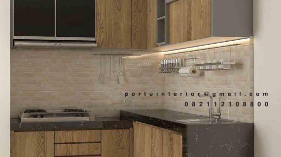 model kitchen set bahan hpl letter L
