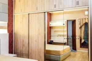 model lemari sliding kaca design minimalis by Portu Interior id3821