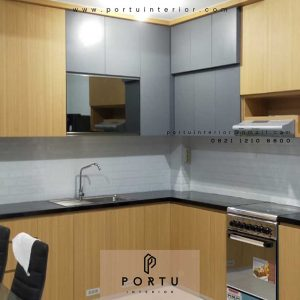 design kitchen set minimalis finishing hpl kombinasi warna id4181