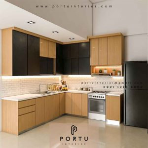 design kitchen set minimalis modern letter L by Portu Interior id4181