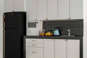 lemari dapur bersih design semi klasik putih by Portu Interior id4011
