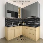 Gambar Model Kitchen Set Bentuk L HPL Kombinasi Project Botanical Valley Serpong Portu Interior