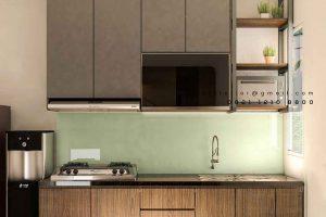gambar kitchen set minimalis sederhana bentuk i finishing hpl id4251