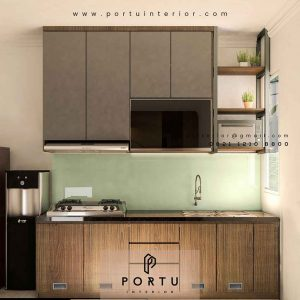 gambar kitchen set minimalis sederhana bentuk i finishing hpl id4251