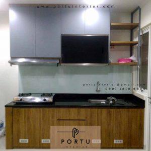 gambar kitchen set minimalis sederhana hpl coklat dan grey di Sepong id4251