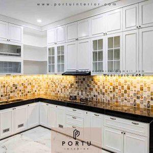 pembuatan kitchen set klasik cat duco super glossy
