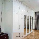 lemari pakaian pintu swing semi klasik duco putih by Portu