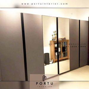 model lemari baju sliding kaca kombinasi hpl letter i by Portu Interior id4330