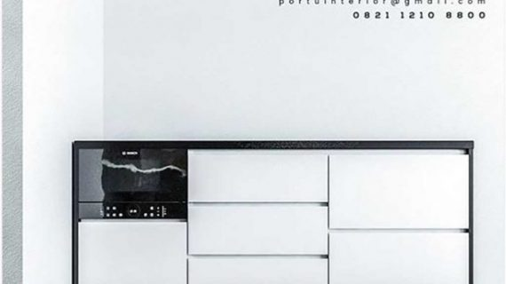 Buat credenza tv finishing HPL warna putih kombinasi hitam