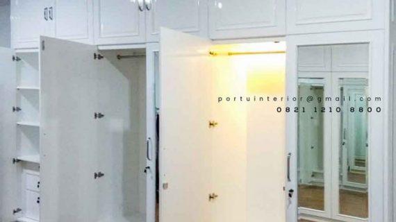 Jual lemari pakaian pintu seing cat duco kombinasi kaca