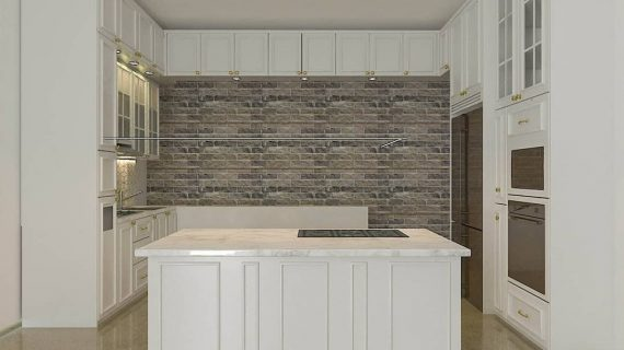 Kitchen set american style & island warna putih
