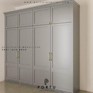 Lemari pakaian pintu swing desain semi klasik finishing cat duco