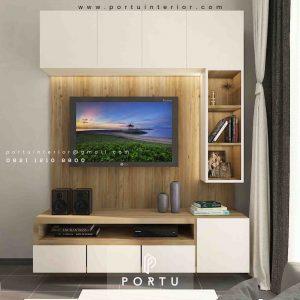 Pasang Backdrop Tv Mewah Kombinasi Warna Perumahan Paramount Gading Serpong id3937p