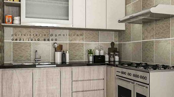 Contoh kitchen set minimalis modern kombinasi warna