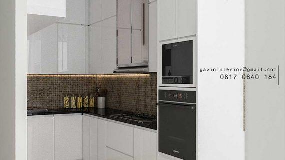 Contoh kitchen set minimalis modern warna putih glossy