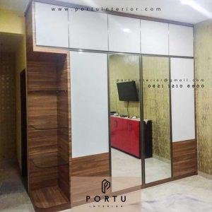Desain lamari pakaian minimalis kombinasi warna pintu sliding