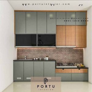Gambar Kitchen set warna drak grey by Portu Interior