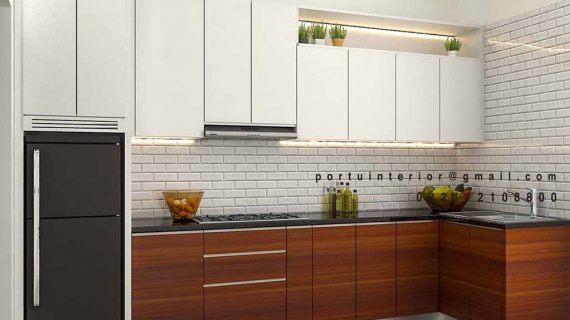 Kitchen set minimalis modern kombinasi warna
