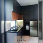 Pasang Kitchen Set Finishing HPL Dark Grey Serua Indah Ciputat Tangerang