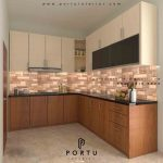 Pembuatan kitchen set minimalis finishing HPL motif kayu & warna cream