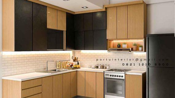 gambar kitchen set custom finishing HPL kombinasi warna model minimalis