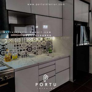 Buat Kitchen Set Warna Putih Custom desain dan model ID4362P