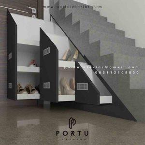Desain minimalis rak bawah tangga custom