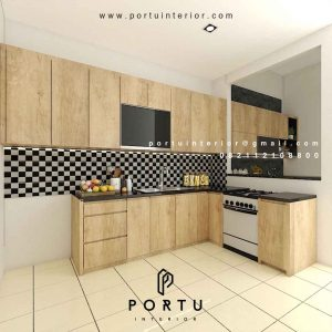 Portofolio Kitchen Set Motif Kayu Design Fungsional