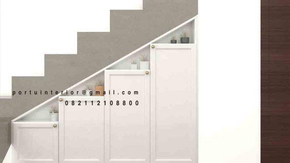 Rak bawah tangga desain semi klasik