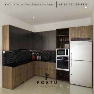 Kitchen set cibubur kombinasi hitam dan motif kayu ID4703