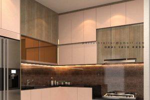 Bikin Kitchen Set Warna Pearl dan Motif Kayu Sutera Sitara Alam Sutera Serpong id4142P