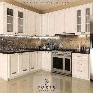 Design Kitchen Set American style Warna Putih Komplek Grand Puri Laras Pisangan Ciputat Tangerang id3997p
