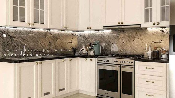 Design Kitchen Set American style Warna Putih Komplek Grand Puri Laras Pisangan Ciputat
