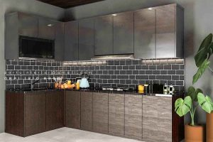 Kitchen Set Minimalis Motif Kayu & Warna Grey Cluster Sierra Metland Transyogi Cileungsi Bogor id4461P